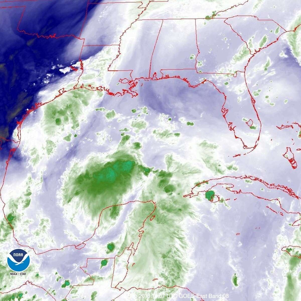 PHOTOS: Invest 95L in photos These images show Invest 95L as it appeared on Wednesday in satellite images. (9/12/18) >>>See more photos of this probable storm heading towards the Texas coast...