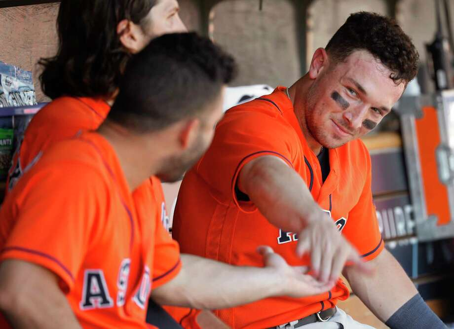 Houston Astros' Alex Bregman, right, celebrates after scoring with Jose Altuve, left, in the fifth inning of a baseball game against the Detroit Tigers in Detroit, Wednesday, Sept. 12, 2018. (AP Photo/Paul Sancya) Photo: Paul Sancya, Associated Press / Copyright 2018 The Associated Press. All rights reserved