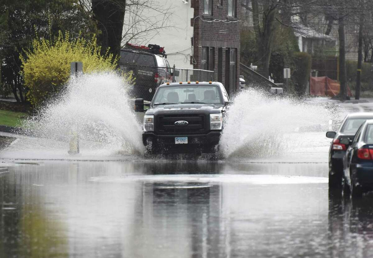A flooded stretch of North Water Street in April 2018 in the Byram section of Greenwich, Conn.