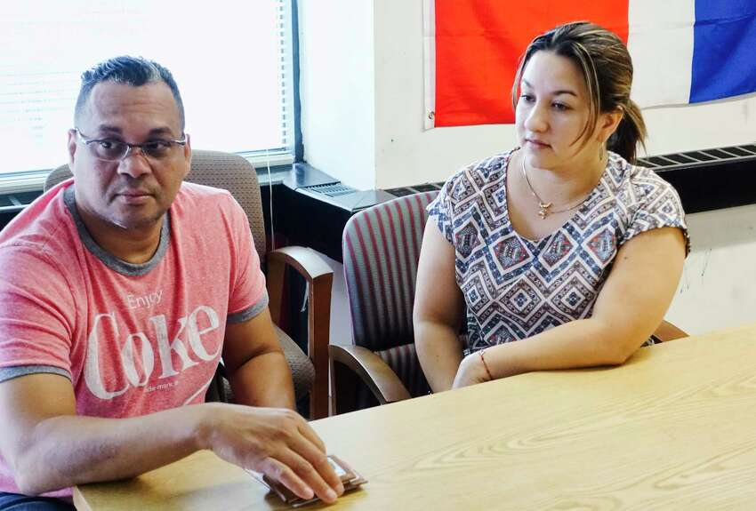 Domingo Baez, left, and Natalia Salazar talk about voting in the primary election during an interview at Centro Civico on Wednesday, Sept. 12, 2018, in Albany, N.Y. (Paul Buckowski/Times Union)