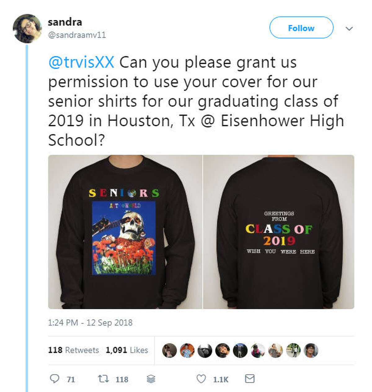 A student from Eisenhower High School posting this tweet asking Houston-born rapper for permission to use his design on the senior-class shirts. >> See all the Houston Easter eggs in Scott's new album.
