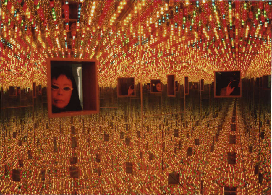 "An installation view of one of Yayoi Kusama's Infinity Mirror Rooms, called ""Love Forever"" (1966/1994). Photo: David Zwirner-Ota Fine Arts-Victoria Miro-YAYOI KUSAMA Inc.-Magnolia Pictures / © Yayoi Kusama"