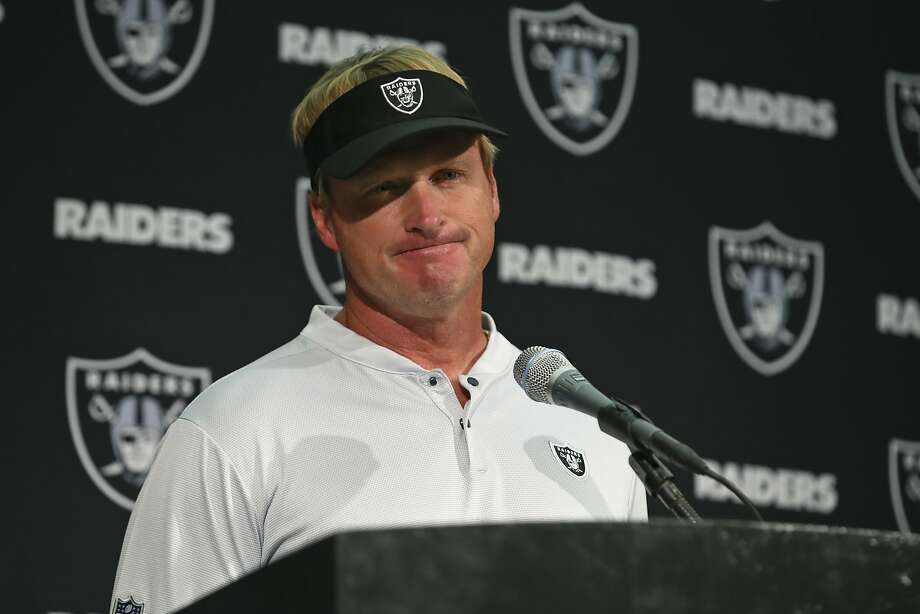 Oakland Raiders head coach Jon Gruden answers questions during a news conference after an NFL football game against the Los Angeles Rams in Oakland, Calif., Monday, Sept. 10, 2018. Los Angeles won the game 33-13. Gruden told reporters Wednesday about a skunk that somehow made its way inside the Coliseum earlier this week. Photo: Ben Margot, Associated Press