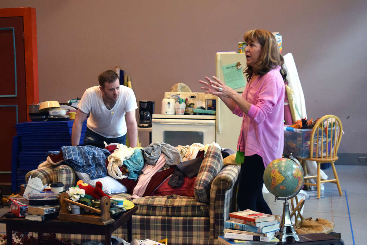 """Elizabeth Aspenlieder and Adam Huff in rehearsal for Shakespeare & Company's """"Hir."""" Photo by: Katie McKellick"""