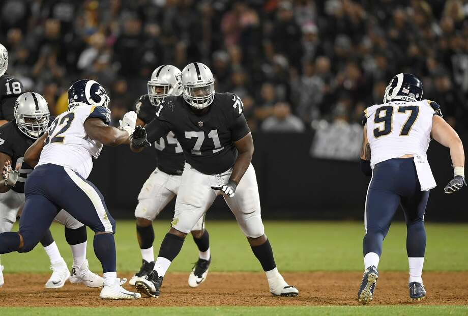 PHOTOS: NFL Color Rush uniforms OAKLAND, CA - AUGUST 19: David Sharpe #71 of the Oakland Raiders sets up in pass protection against the Los Angeles Rams during the third quarter of their preseason NFL football game at Oakland-Alameda County Coliseum on August 19, 2017 in Oakland, California. (Photo by Thearon W. Henderson/Getty Images) >>>Here's a look at each NFL team's Color Rush uniform ... Photo: Thearon W. Henderson/Getty Images
