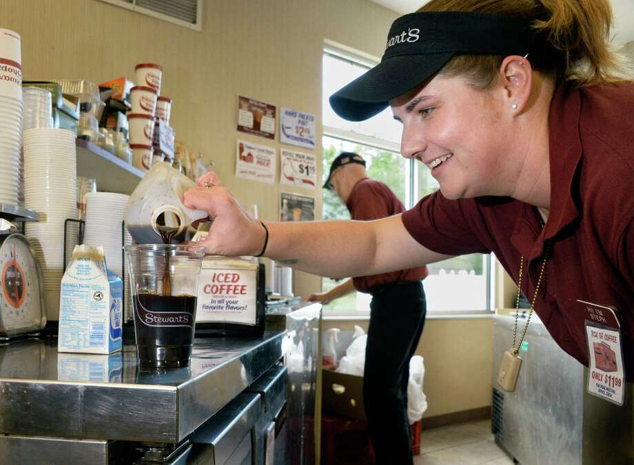 Shift supervisor Stephanie McEwan prepares a cold-brewed coffee at the Vly Road Stewart's Shop Thursday Sept. 6, 2018 in Colonie, NY.  (John Carl D'Annibale/Times Union) Photo: John Carl D'Annibale / 20044739A