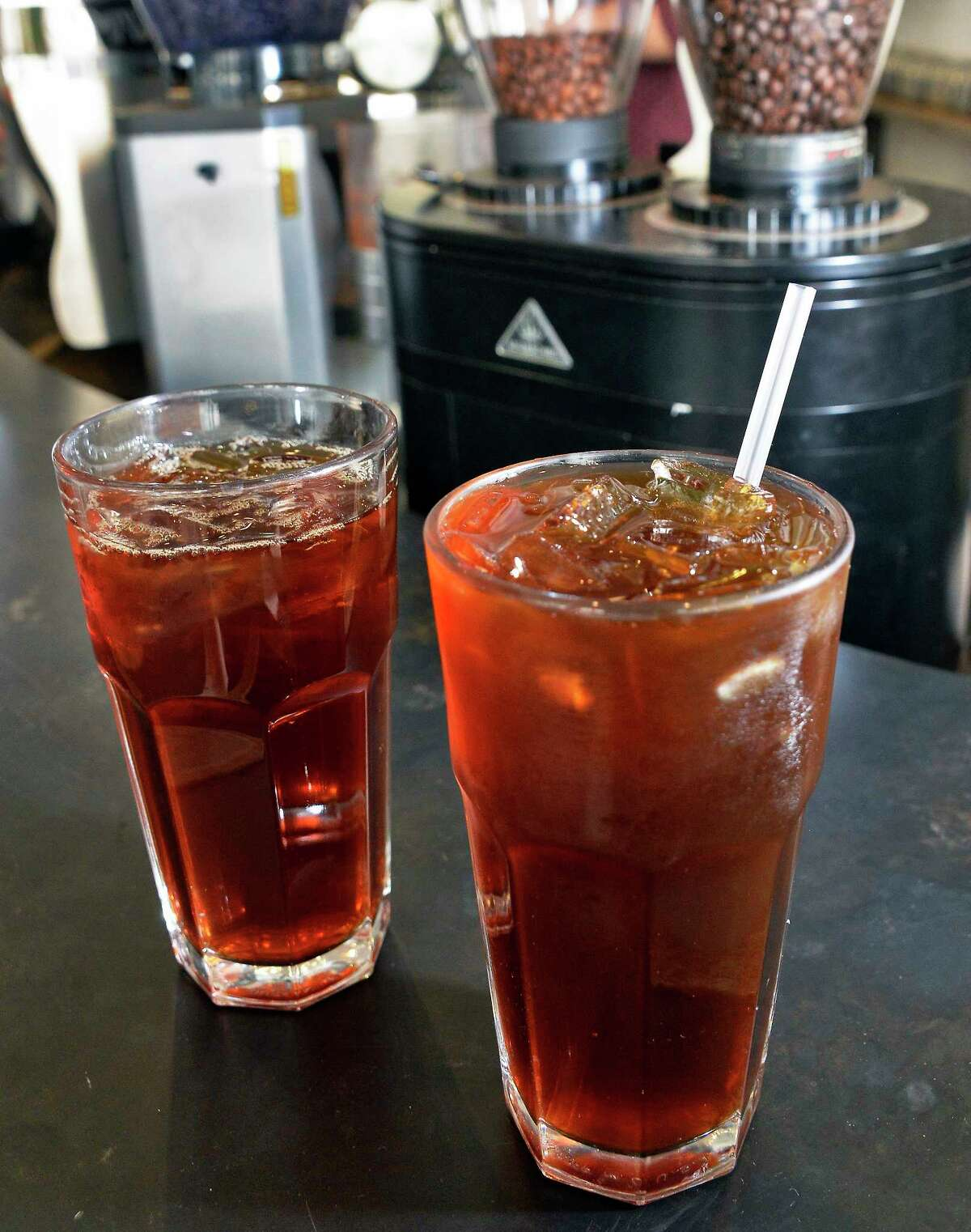 Glasses of iced coffee, left, and cold-brew coffee at Stacks Espresso Thursday Sept. 6, 2018 in Albany, NY. (John Carl D'Annibale/Times Union)