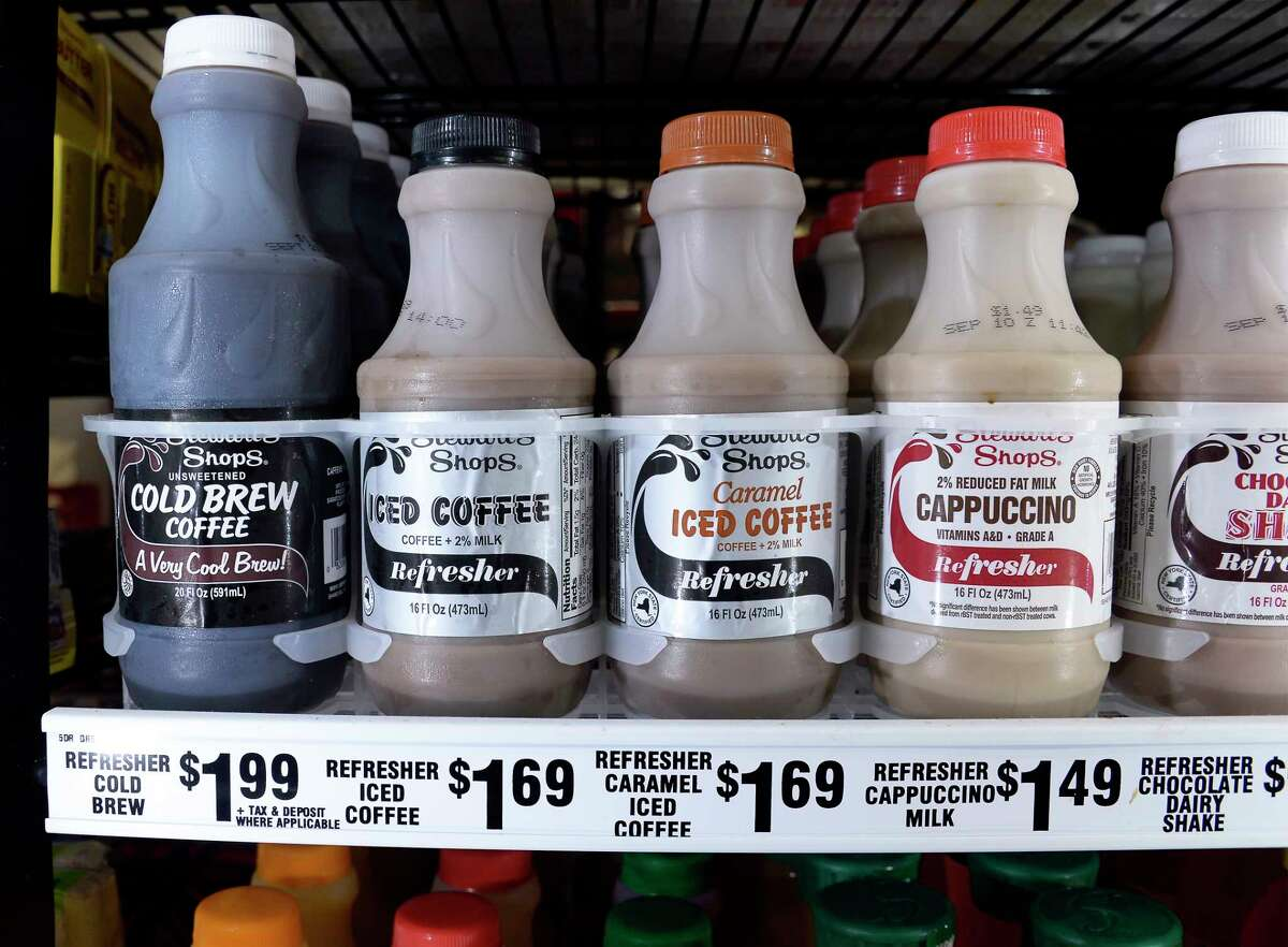 FILE - Pre-made cold coffees at the Vly Road Stewart's Shop Thursday Sept. 6, 2018 in Colonie, NY. (John Carl D'Annibale/Times Union)