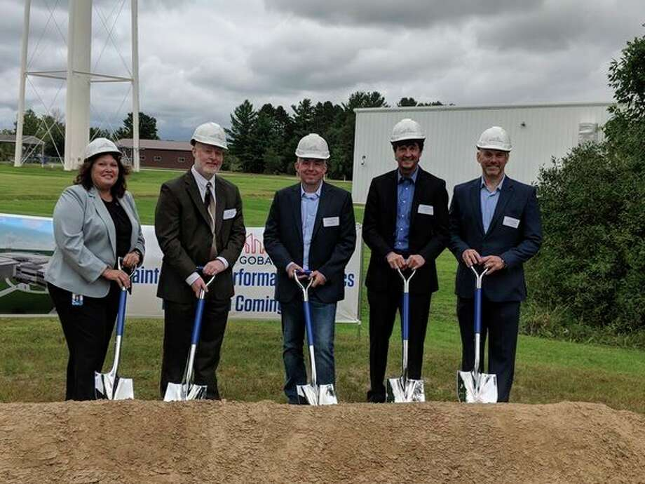 Breaking ground for the Saint-Gobain $25 million expansion Monday, are(from left) Sue Shay, plant manager; Heath Kaplan, Beaverton city manager; State Rep. Jason Wentworth; Steve Maddox, general manager life sciences; and Mark Rovoll, engineering manager. The expansion is set for a December 2019 completion. (Tereasa Nims/For the Daily News)
