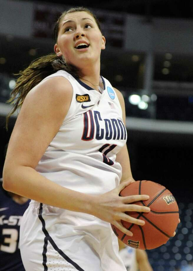 Former UConn center Stefanie Dolson turns to the basket during the first half of an NCAA tournament second-round game against Kansas State on March 19, 2012, in Bridgeport. Photo: Jessica Hill / AP / AP2012