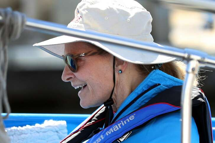 Kathi Pugh enjoys a solo sail in San Francisco, Calif. on Friday, September 7, 2018.
