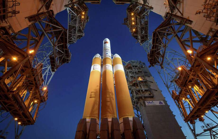 In a photo provided by Bill Ingalls/NASA, the Mobile Service Tower is rolled back to reveal the United Launch Alliance Delta IV Heavy rocket with NASA's Parker Solar Probe onboard, at Cape Canaveral, Fla., Aug. 11, 2018. In an era of flat budgets for the agency, NASA's administrator Jim Bridenstine broached the possibility of corporate sponsorships for NASA missions. Photo: BILL INGALLS /NYT / NASA
