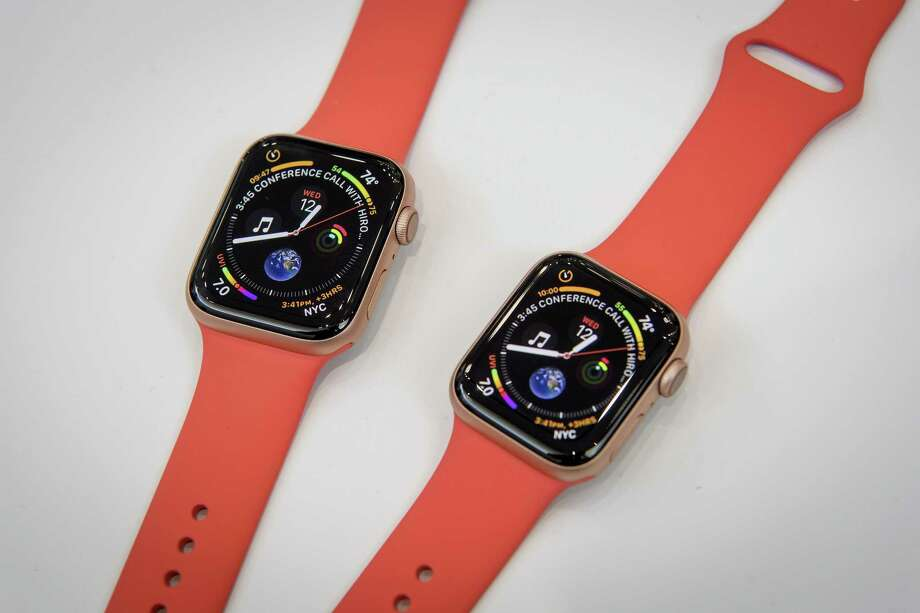Apple Watch series 4 devices are displayed during an Apple Inc. event at the Steve Jobs Theater in Cupertino, California, U.S., on Wednesday, Sept. 12, 2018. Apple Inc. took the wraps off a renewed iPhone strategy on Wednesday, debuting a trio of phones that aim to spread the company's latest technology to a broader audience. Photo: David Paul Morris /Bloomberg / © 2018 Bloomberg Finance LP