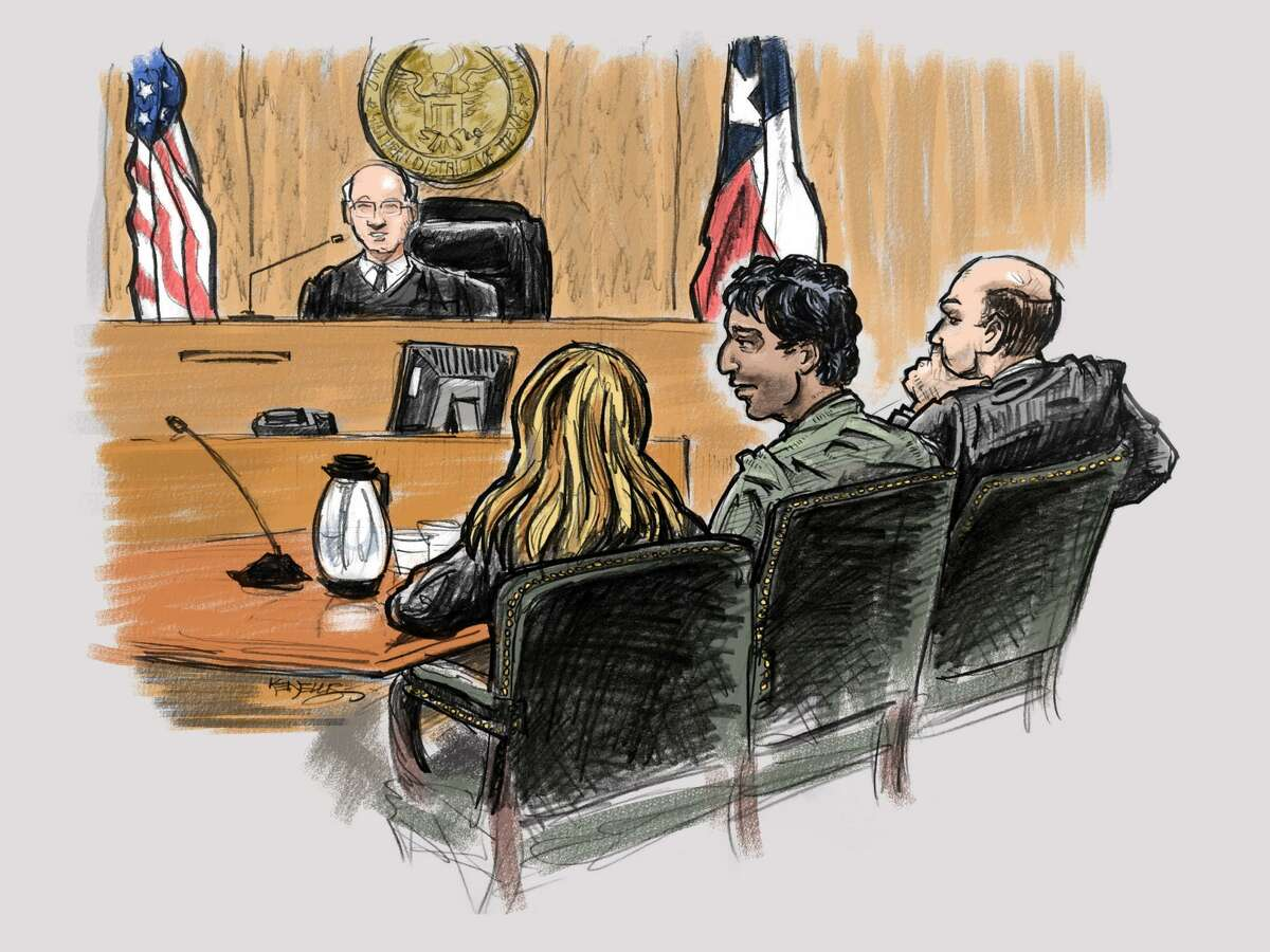 Artist's rendering of the detention hearing for a defendant accused of supporting ISIS at the Bob Casey Federal Courthouse in Houston in January 2016. U.S. District Judge Lynn N. Hughes is shown at bench, in the foreground. From left, are the defendant's translator, Omar Faraj Saeed Al Hardan, and defense attorney David Adler.