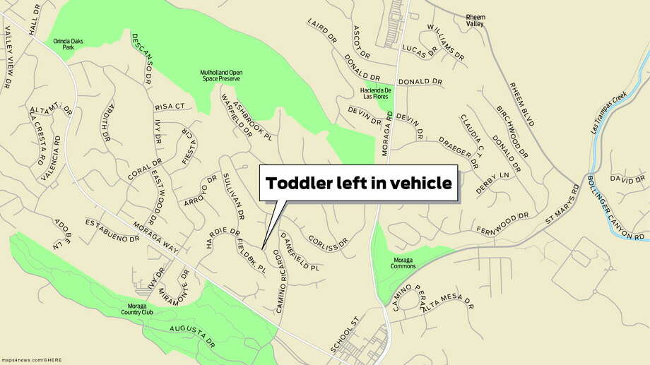 A toddler died Tuesday after being left for hours in a vehicle on Hardie Drive in Moraga. Photo: San Francisco Chronicle