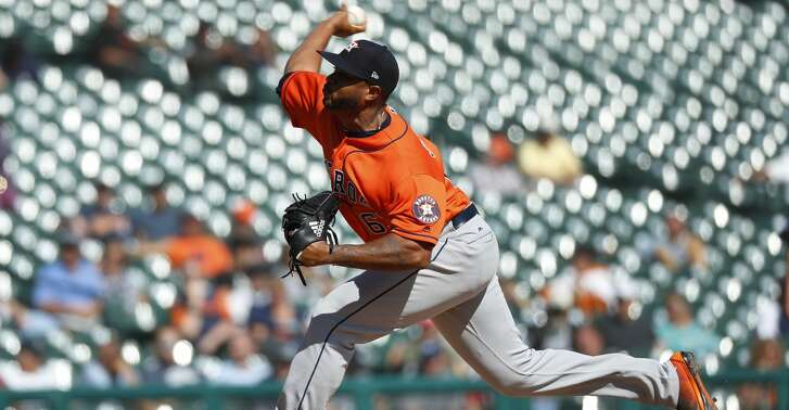 Houston Astros pitcher Josh James throws in the seventh inning of a baseball game against the Detroit Tigers in Detroit, Wednesday, Sept. 12, 2018. (AP Photo/Paul Sancya)