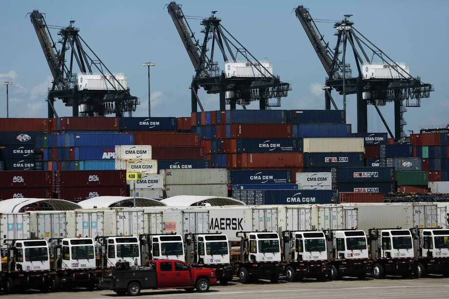 A bevy of cranes, container and trucks are lined up at the Port of Houston's Bayport Container Terminal in Seabrook. Photo: Michael Ciaglo, Houston Chronicle / Michael Ciaglo