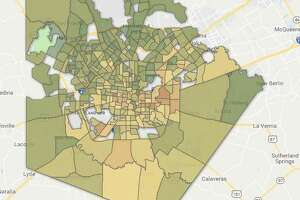 A map of San Antonio shows the variations in life expectancies. Green areas have a higher life expectancy while residents in red areas, on average, live shorter lives.
