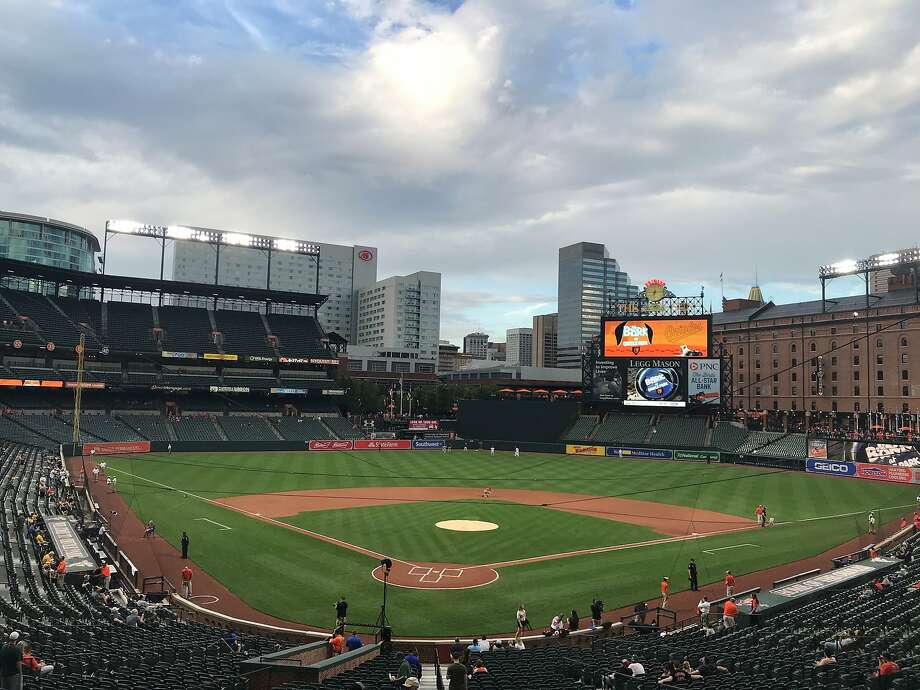 The forecast before Oakland's game at Camden Yards was good, with no rain expected during Wednesday's game or Thursday's. Photo: Susan Slusser/The Chronicle