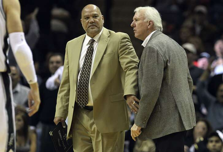 Don Newman, a Spurs assistant from 2004-12, restrains Gregg Popovich after 2010 ejection. Newman played in the Canadian Football League and in the Continental Basketball Association.