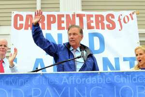 Ned Lamont speaks to supporters during a rally organized by area unions ahead of a gubernatorial debate between Lamont and Bob Stefanowski in downtown New London, Conn., on Wednesday Sept. 12, 2018.
