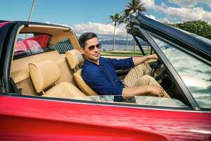 "Jay Hernandez in that famed Ferrari in ""Magnum P.I.'"