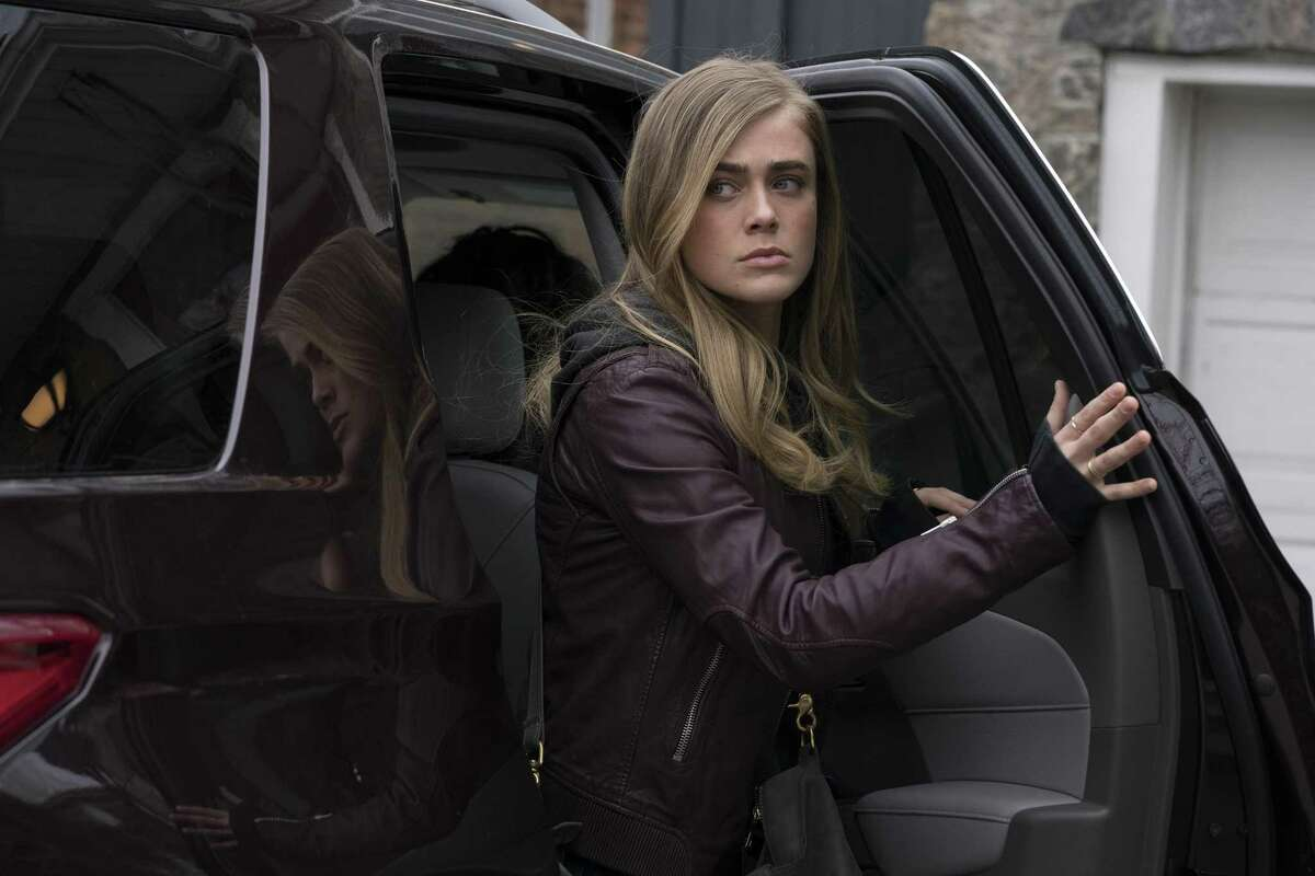 Melissa Roxburgh as Michaela, one of the bewildered passengers whose plane arrives five years after takeoff, in