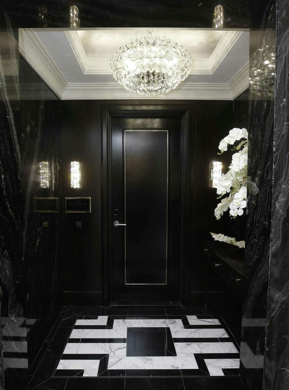 A view one of the entry doors for the Presidential Suite at the Post Oak Hotel, 1600 West Loop South, Tuesday, June 5, 2018, in Houston. ( Melissa Phillip / Houston Chronicle )