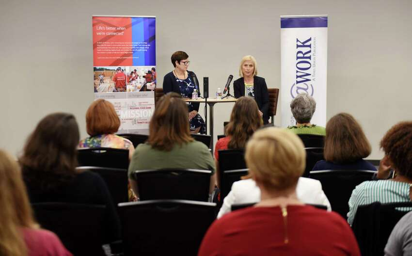 Teddy Foster, the campaign director at Universal Preservation Hall in Saratoga Springs, speaks during the September Women@Work Changemakers breakfast series, sponsored by Bank of America, on Wednesday, Sept. 12, 2018, at the Hearst Media Center in Colonie, N.Y. (Will Waldron/Times Union)