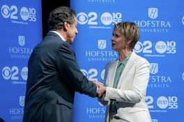 HEMPSTEAD, NY - AUGUST 29: New York Gov. Andrew Cuomo and primary opponent Cynthia Nixon shake hands before a debate at Hofstra University August 29, 2018 in Hempstead, New York. The debate is the only televised one between the two candidates before the primary on September 13. (Photo by Craig Ruttle-Pool/Getty Images)