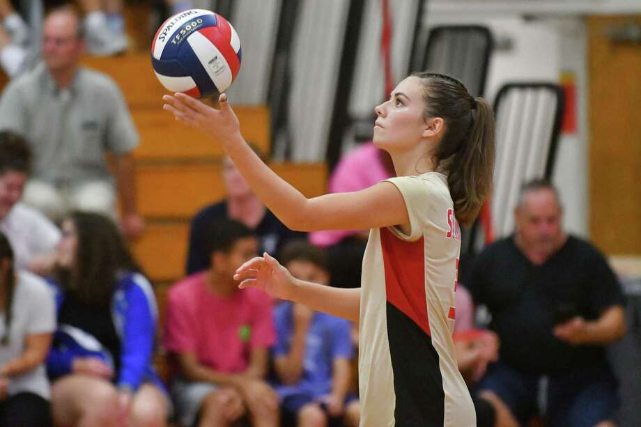 Samantha Perley (3) of the Stratford Red Devils prepares to serve during a game against the Bunnell Bulldogs on Wednesday September 12, 2018 at Stratford High School in Stratford, Connecticut. Photo: Gregory Vasil / For Hearst Connecticut Media / Connecticut Post Freelance