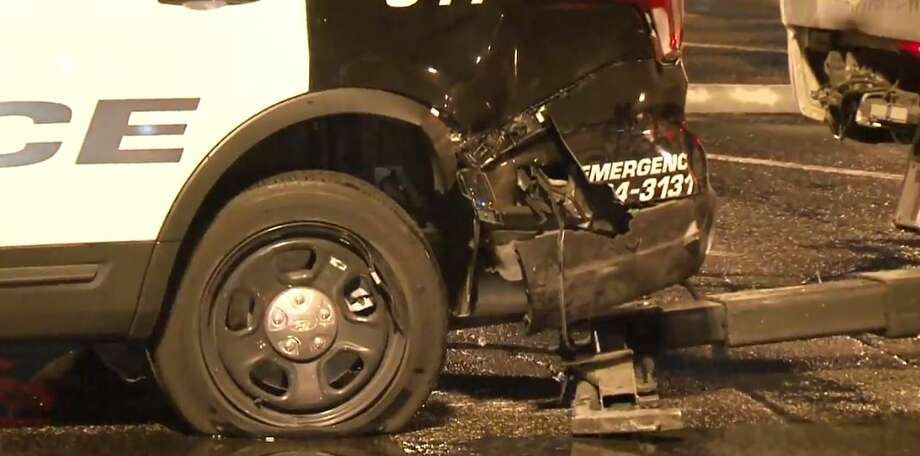 A police car was hit by a possibly intoxicated driver on I-45 near West Road on Thursday, Sept. 13, 2018. Photo: Metro Video