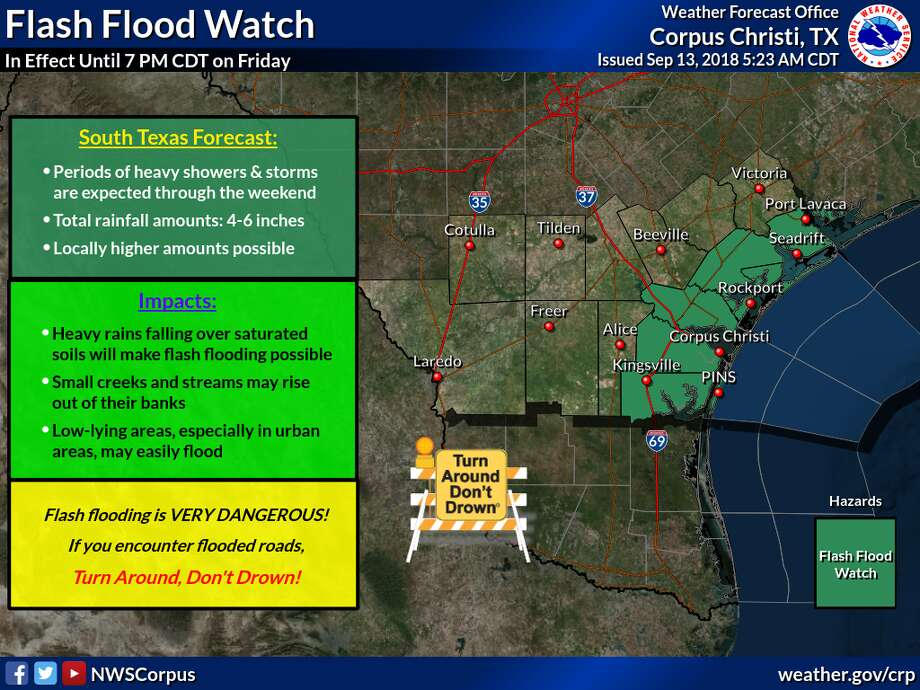 Meteorologists for the National Weather Service are predicting 4-6 inches of rainfall across South Texas this weekend. Photo: National Weather Service