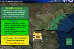 Meteorologists for the National Weather Service are predicting 4-6 inches of rainfall across South Texas this weekend.