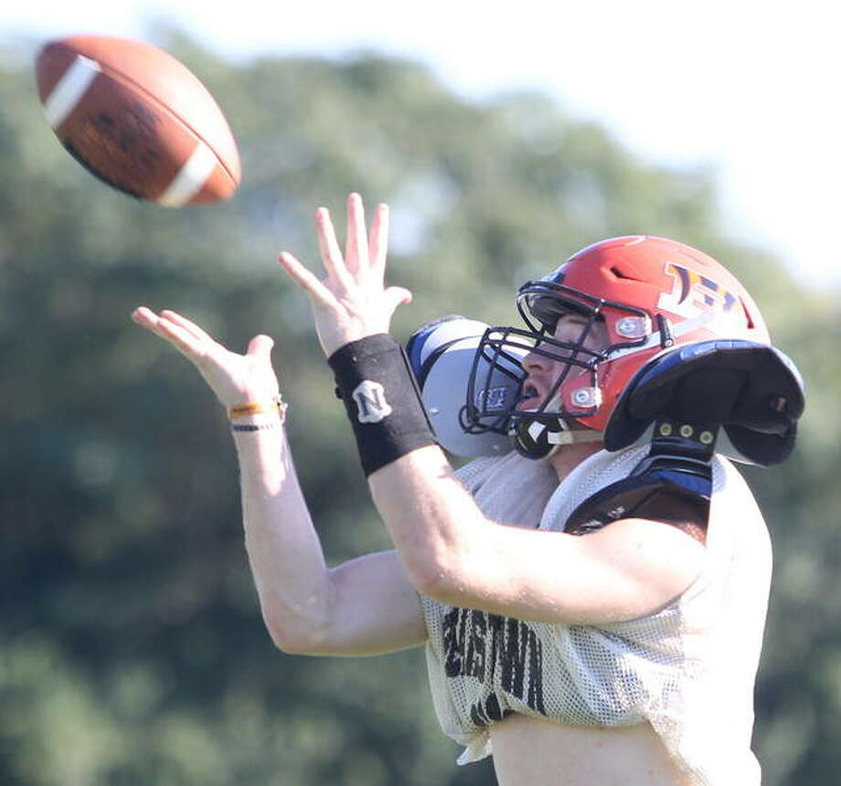 A Beardstown receiver goes up for a catch during practice Tuesday afternoon at Beardstown.