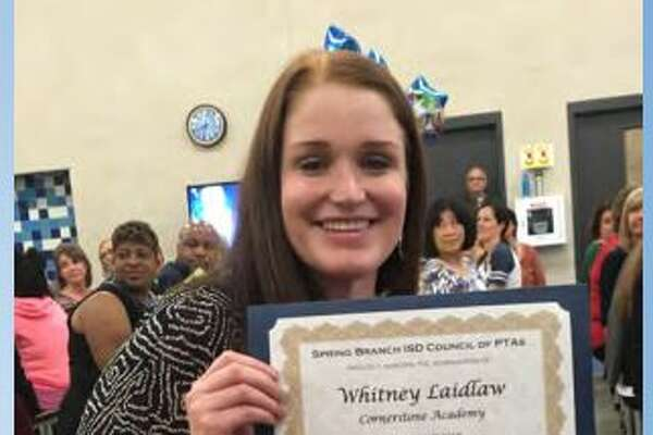 """Whitney Laidlaw, 31, has been charged with sexual assault of a child, accused of having an """"improper relationship"""" with a student."""