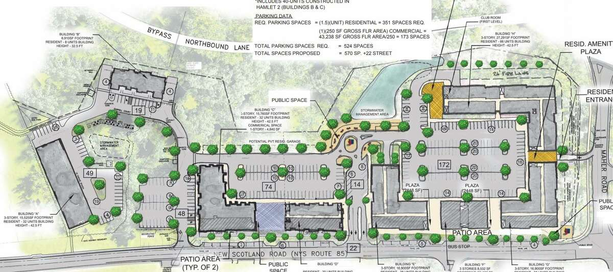 A drawing of the third phase expansion of The Hamlet in Slingerlands. The plans have been submitted to the town but haven't gone to the planning board yet.