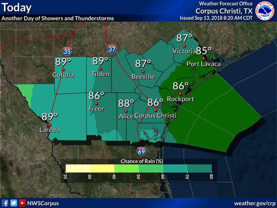 Scattered to numerous showers and thunderstorms will be possible again today across South Texas, according to the NWS. Photo: National Weather Service