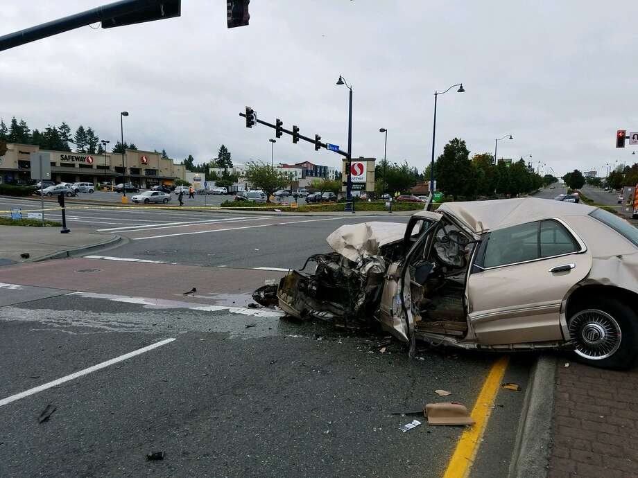 A 62-year-old taxi cab passenger died at the scene of a crash with a passenger vehicle Thursday morning at Aurora Avenue North and North 155th Street. Both directions of Aurora were closed while detectives investigated the incident. Photo: King County Sheriff's Office
