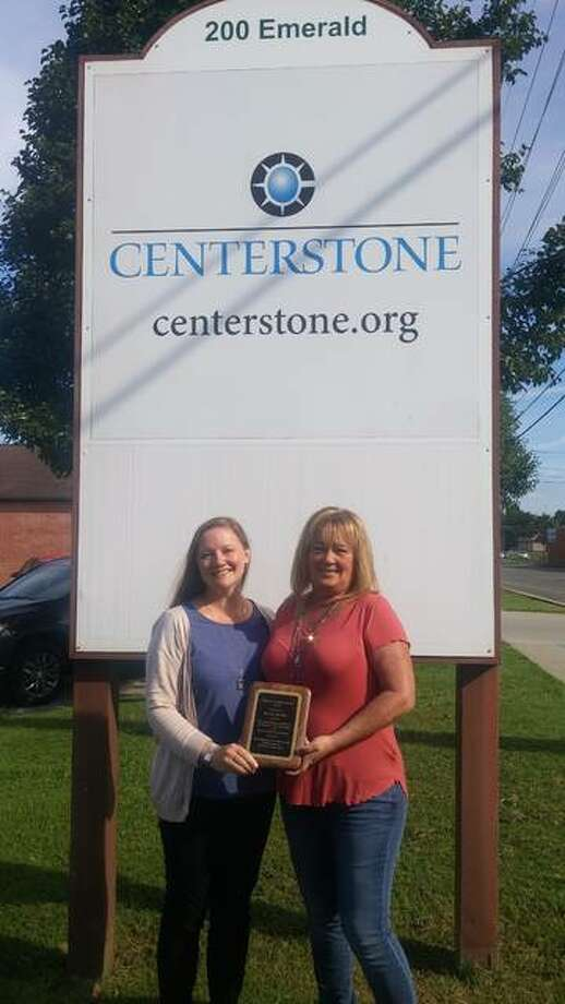 Johanna Wichman (left), health home clinical manager for Centerstone, recently nominated Kathy Raney, recovery services coordinator with Centerstone's Health Home program, for the Region Five 22nd annual Recovery Conference. Raney accepted the award during the conference held on Aug. 9 at John A. Logan College. Photo: For The Telegraph