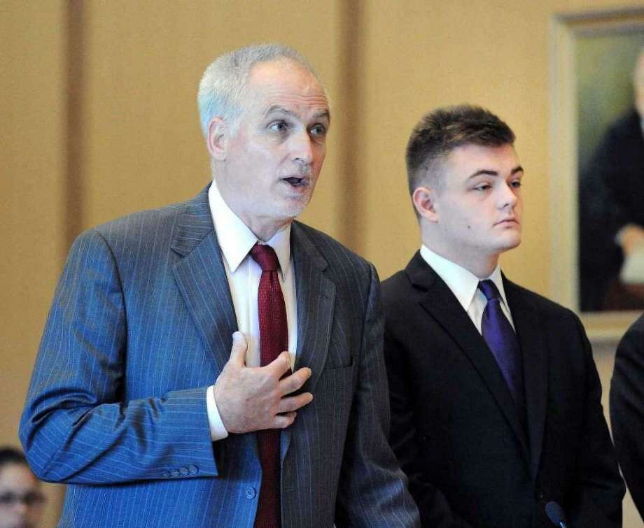 Andrew Schmidt, right, with lawyer Gene Riccio, at a previous court hearing. Photo: Matthew Brown / Hearst Connecticut Media