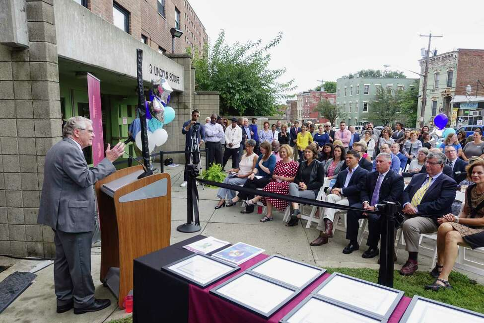 Dr. Greg Dewey, president of the Albany College of Pharmacy and Health Sciences, addresses those gathered for an event to announce the college's opening of a laboratory for collaboration at 3 Lincoln Square on Thursday, Sept. 13, 2018, in Albany, N.Y. The location will be called The Collaboratory and will provide programs and partner with local community organizations to try to improve the health of those living in the area. (Paul Buckowski/Times Union)