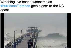 As the outer bands of Hurricane Florence reached the coast of the Carolinas early Sept. 13, many shared images of flooding and big waves in social media.