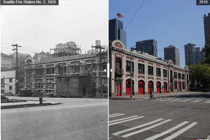 A comparison of Belltown's fire station from 1920 to 2018.