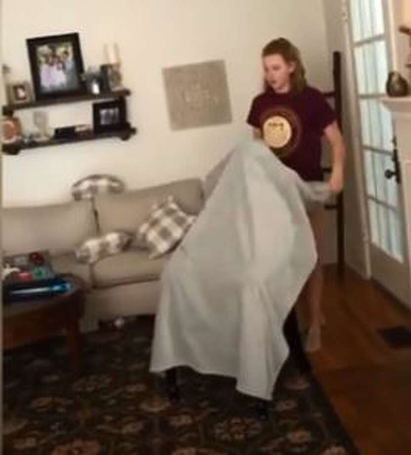 "Makayla Cunningham, 18, led her family and friends in the ""invisibility prank,"" the internet's latest challenge, as they tricked the youngest Ava, 11, into believing she was unseen. Watch how the mother's incredible acting sends Ava to the floor. Photo: Makayla Cunningham"