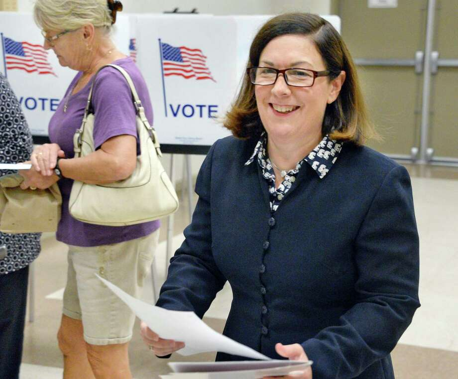 Saratoga County District Attorney Karen Heggen casts her ballot in today's primary voting at the Malta Community Center Thursday Sept. 13, 2018 in Malta, NY.  (John Carl D'Annibale/Times Union) Photo: John Carl D'Annibale, Albany Times Union / 20044810A