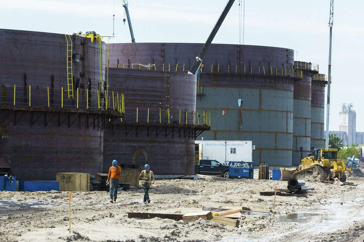 New storage tanks being built for a crude oil export facility at the Port of Corpus Christi. The port has been trying to capitalize on rising crude oil exports.