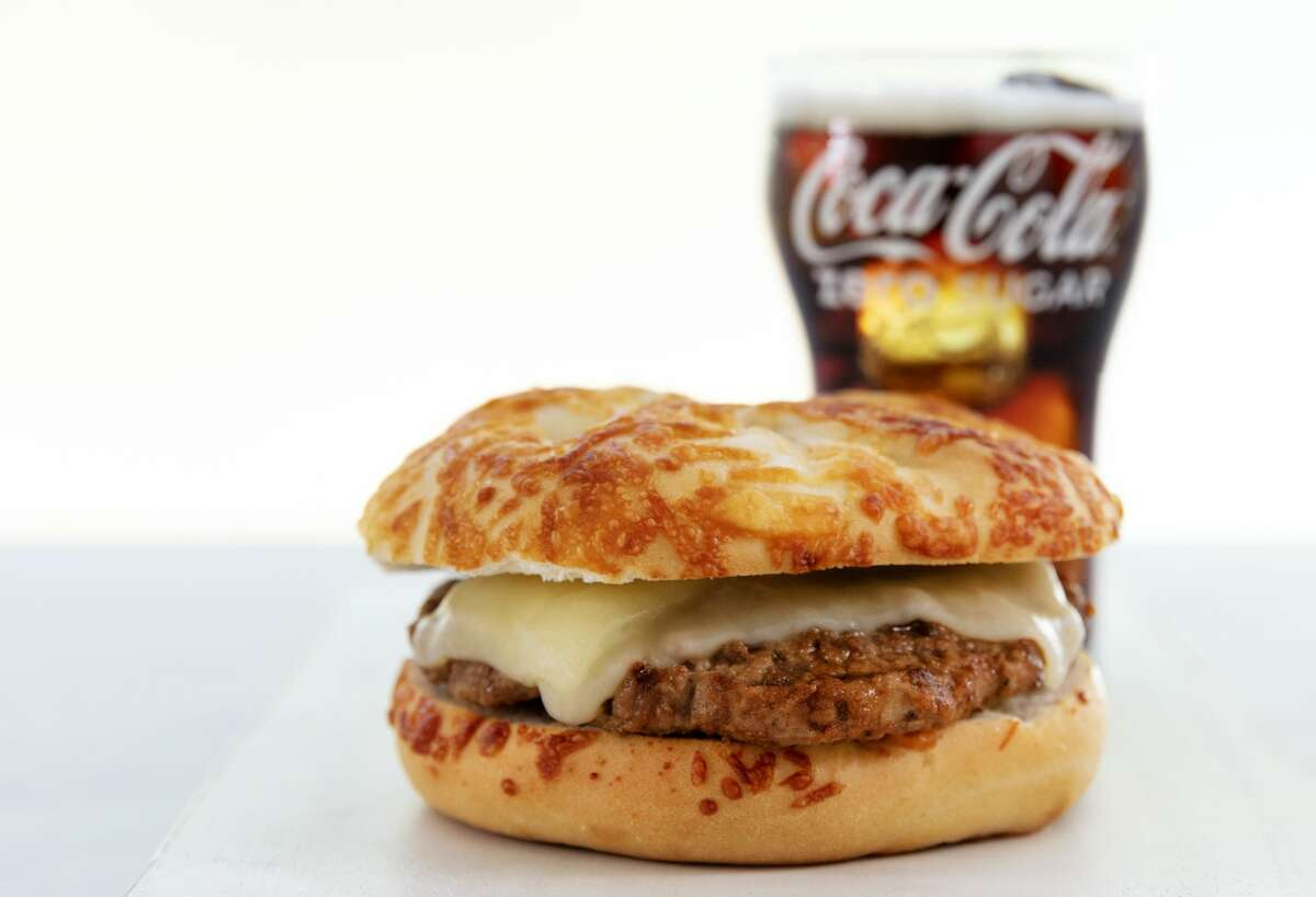 United's newest $10 cheeseburger. Version #3 is topped with white cheddar and served on an Asiago cheese bun.