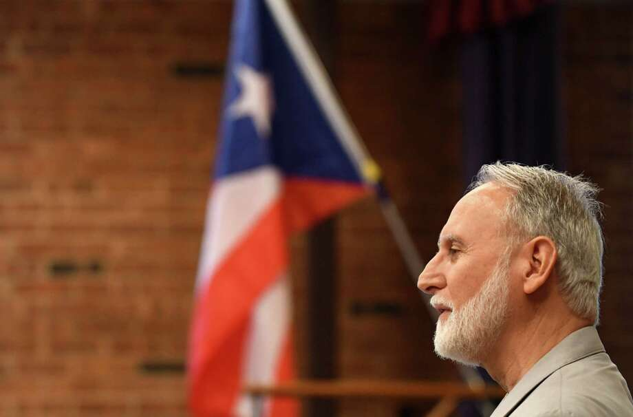 Jose Rossy-Millan from the Council of Latino Service Providers speaks during a press conference to announce efforts to prepare Vieques, Puerto Rico for future disasters, following the devastation caused by Hurricane Maria on Wednesday, Sept. 12, 2018, in Albany, N.Y. Centro Civico has partnered with Hudson Valley Community College to work on the project. (Will Waldron/Times Union) Photo: Will Waldron, Albany Times Union / 20044809A