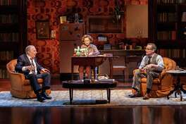 "From left, Michael McKean, Edie Falco and Peter Scolari in ""The True,"" a new off-Broadway play about Erastus Corning, Polly Noonan and Albany politics circa 1977."